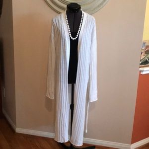 Few People White Cardigan Ribbed Duster
